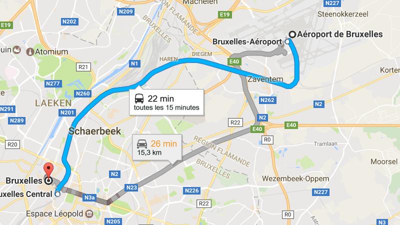 доехать из аэропорта Брюсселя в центр города