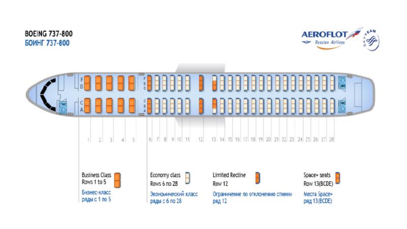Боинг 737-800 аэрофлот схема салона лучшие места