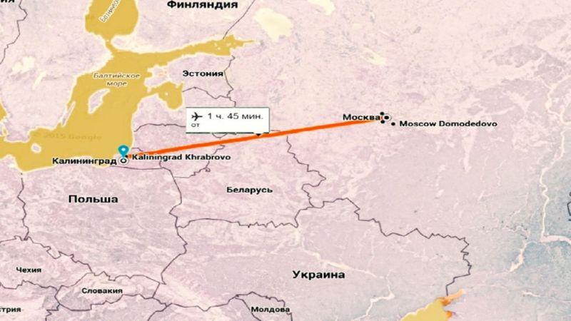 время полета Москва - Калининград