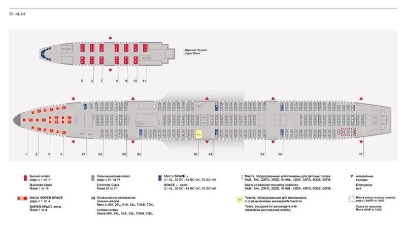 Боинг 747-400 Аэрофлот схема салона лучшие места