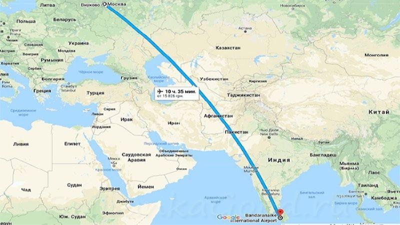 время полета Шри-Ланка - Москва