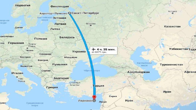 сколько лететь до Ларнаки из СПБ