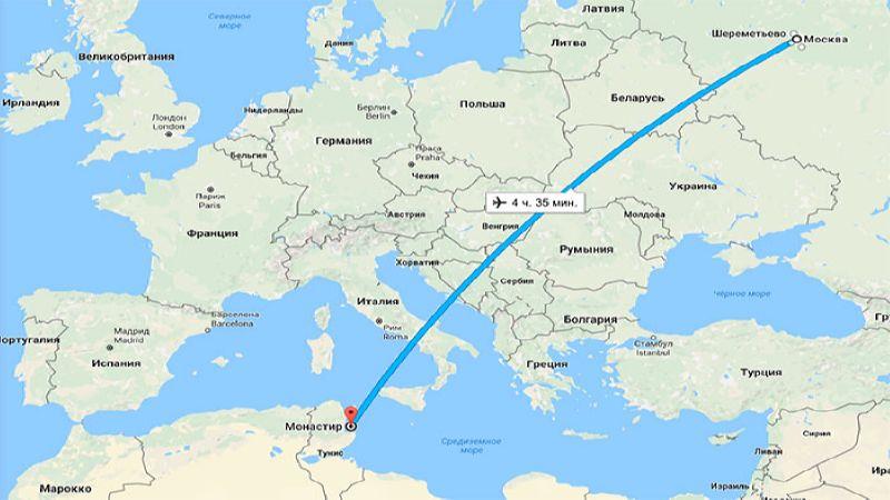 сколько лететь на самолете Москва Тунис