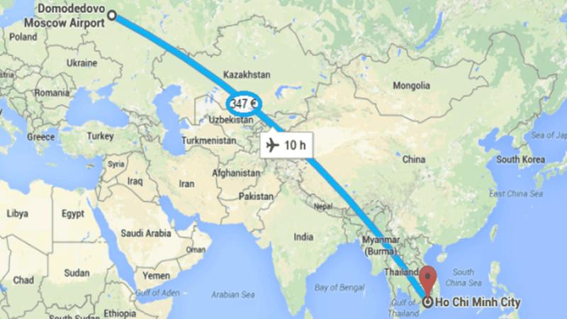 время полета Москва Вьетнам