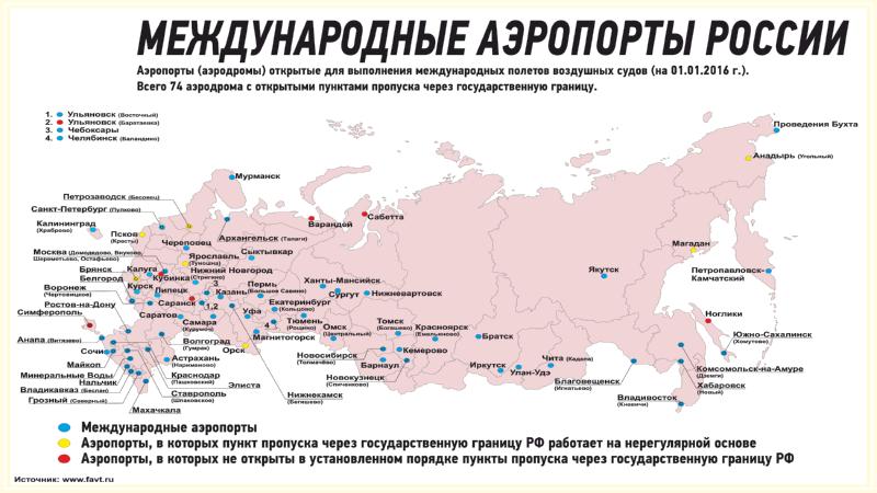 карта аэропортов России