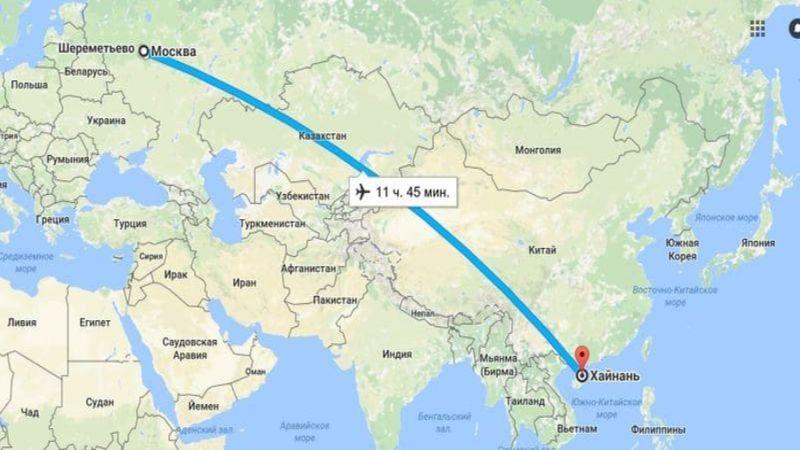 сколько лететь до Хайнань из Москвы прямым рейсом