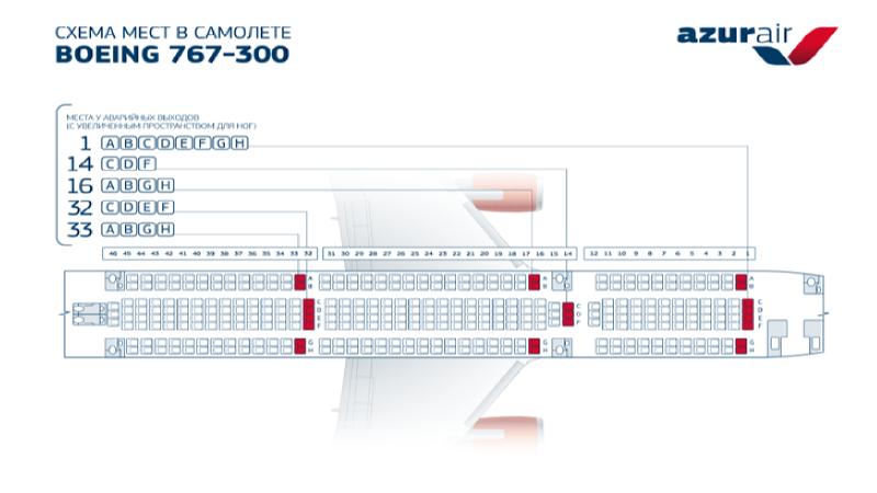 схема салона boeing 767-300 Azur Air