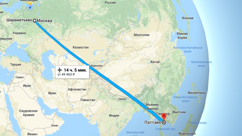 сколько стоит перелет из Москвы в Тайланд