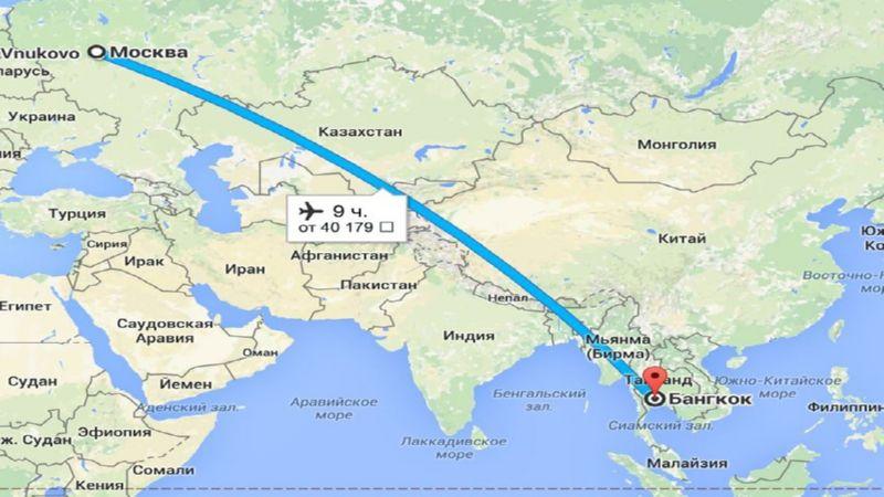 время перелета Москва - Бангкок