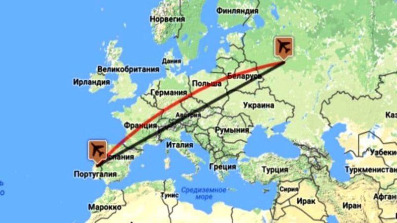 время полета Москва - Лиссабон