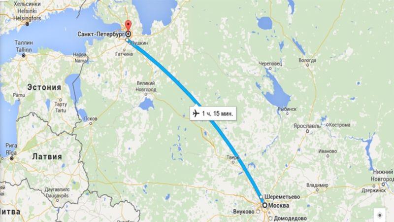 сколько лететь из Москвы до Санкт-Петербурга
