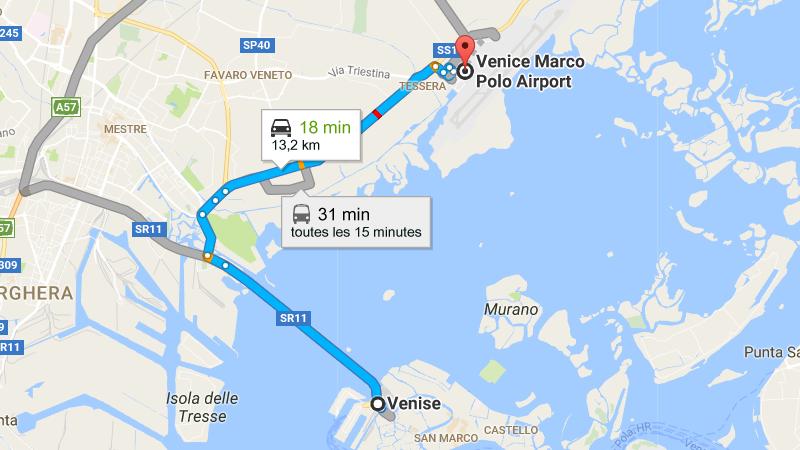 добраться из аэропорта Венеции в центр Венеции