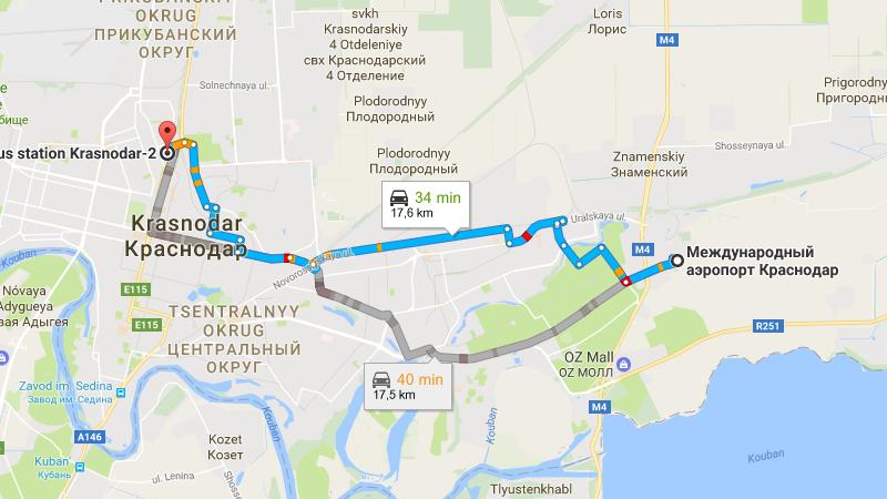 добраться в Краснодаре от аэропорта до автовокзала