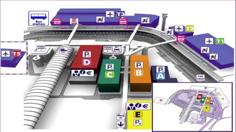 схема терминалов аэропорта Фьюмичино