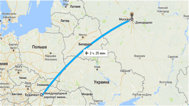 время полета Москва - Будапешт