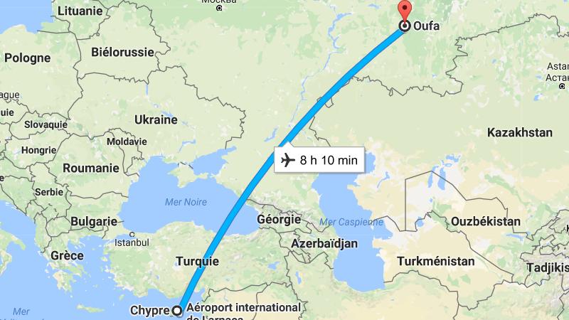 время перелета Уфа - Кипр